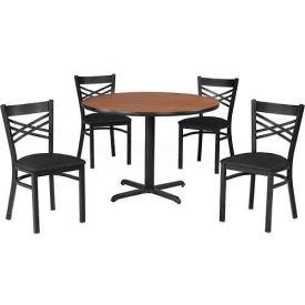 "Premier Hospitality 36"" Round Table & Chairs w/ Criss-Cross Back - Wild Cherry/Black Vinyl"