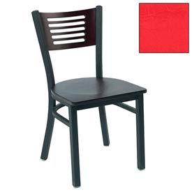 "Natural 5 Slat-Back Stack Chair 17-1/2""W X 17""D X 32""H - Red - Pkg Qty 2"