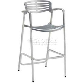Premier Hospitality Furniture Aero Outdoor Cast Aluminum Bar Height Chair With Arms