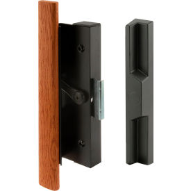 Prime-Line® Sliding Door Handle Set, Wood Handle, Black Aluminum/Diecast, C 1126