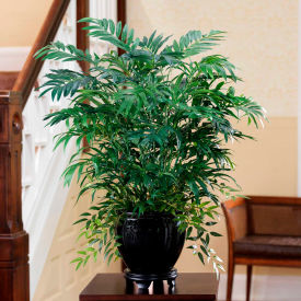 OfficeScapesDirect Mixed Palm Silk Plant in Black Fishbowl