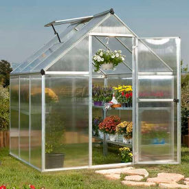 Nature 6' X 6' Greenhouse, Silver Frame, Twin-Wall Package Count 2 by