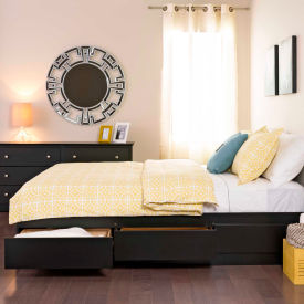 Prepac Manufacturing Black Queen Mate's Platform Storage Bed with 6 Drawers