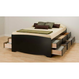 Prepac Manufacturing Black Tall Queen Captain's Platform Storage Bed with 12 Drawers