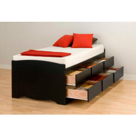 Prepac Manufacturing Black Tall Twin Captain's Platform Storage Bed with 6 Drawers