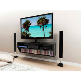 """Prepac Manufacturing Black 58"""" Wide Wall Mounted Av Console - Series 9 Designer Collection"""