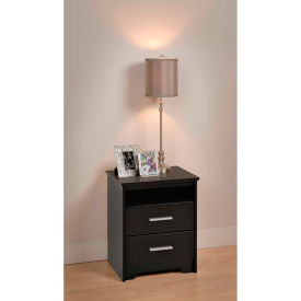 Prepac Manufacturing Black Coal Harbor 2 Drawer Tall Nightstand with Open Shelf
