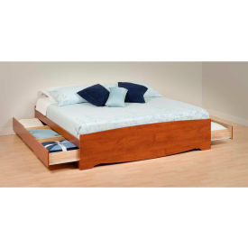 Prepac Manufacturing Cherry King Mate's Platform Storage Bed with 6 Drawers