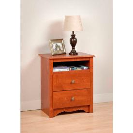 Prepac Manufacturing Cherry Monterey Tall 2 Drawer Nightstand with Open Shelf