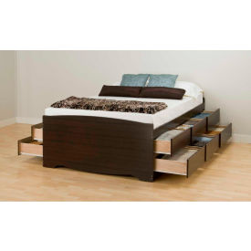 Prepac Manufacturing Espresso Tall Queen Captain's Platform Storage Bed with 12 Drawers