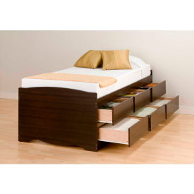 Prepac Manufacturing Espresso Tall Twin Captain's Platform Storage Bed with 6 Drawers