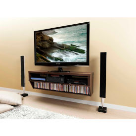 """Prepac Manufacturing Espresso 58"""" Wide Wall Mounted Av Console - Series 9 Designer Collection"""
