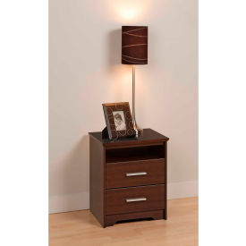 Prepac Manufacturing Espresso Coal Harbor 2 Drawer Tall Nightstand with Open Shelf