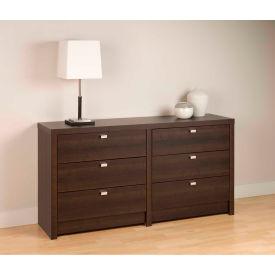 Prepac Manufacturing Espresso Series 9 Designer - 6 Drawer Dresser