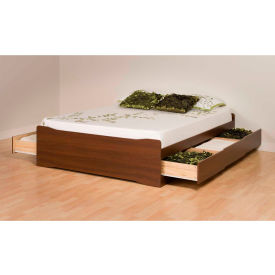 Prepac Manufacturing Warm Cherry Coal Harbor Queen Mate's Platform Storage Bed with 6 Drawers