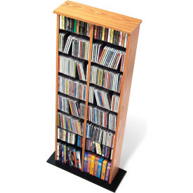 Prepac Manufacturing Oak & Black Double Multimedia Storage Tower