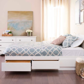Prepac Manufacturing White Queen Mate's Platform Storage Bed with 6 Drawers