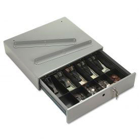 PM Company Steel Cash Drawer 04964 with Alarm Bell & 10 Compartments Key Lock, Stone Gray