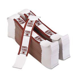 PM Company Self-Adhesive Color-Coded Currency Straps 55033 $5000 in $50 Bills Brown, 1000 Bands/Pack