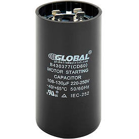 Global Industrial™ B430377, 108-130 +/- 5% MFD, 220/250V, Start Capacitor, Round