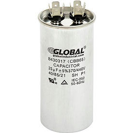 Global Industrial™ B430317, 25 +/- 5% MFD, 370/440V, Run Capacitor, Round