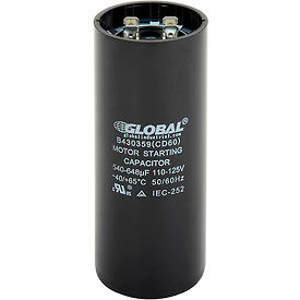 Global Industrial™ B430359, 540-648 +/- 5% MFD, 110/125V, Start Capacitor, Round
