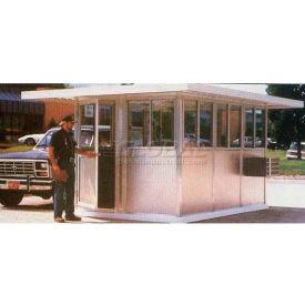 """8' x 16' Pre-Assembled Security Building, 24"""" Overhang Roof - Gray, Swing Door"""