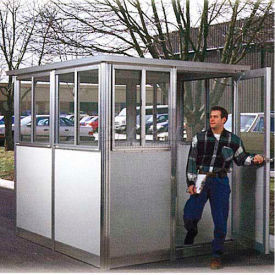 8' x 8' Pre-Assembled Security Building, Integral Roof - White, Swing Door