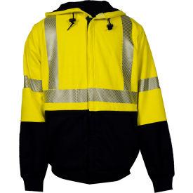 VIZABLE® FR Hybrid Deluxe Hi-Vis Sweatshirt, Type R, Class 3, XL, Yellow/Navy