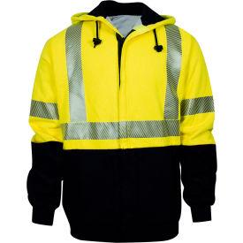 VIZABLE® FR Hybrid Lined Hi-Vis Zip Front Sweatshirt, Class 3, Type R, S, Yellow/Navy
