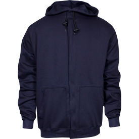 National Safety Apparel® Midweight Zip Front FR Sweatshirt, L, Navy, C21WT05LG