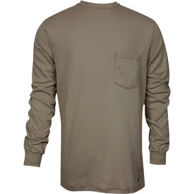 National Safety Apparel® FR Classic Cotton Long Sleeve T-Shirt, S, Khaki, C54PALSSM
