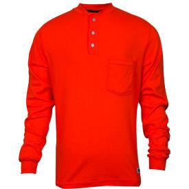 National Safety Apparel® Flame Resistant Classic Cotton Henley, 3XL, Orange, C54PQBSLS3XL