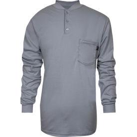 National Safety Apparel® TrueComfort® Flame Resistant Henley, XL, Gray, C54VGBSLSXL