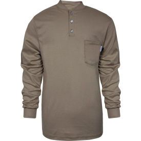 National Safety Apparel® TrueComfort® Flame Resistant Henley, 2XL, Khaki, C54VKBSLS2XL