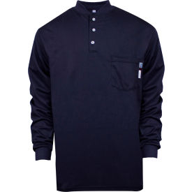 National Safety Apparel® TrueComfort® Flame Resistant Henley, L, Navy, C54VYBSLSLG