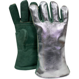 CARBON ARMOUR™ Aluminized Leather Glove, Green, Regular, DJXG1788DBWLSP