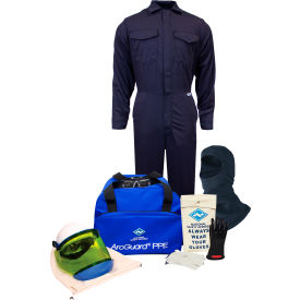 ArcGuard® KIT2CV11BS09 12 cal UltraSoft Arc Flash Kit, FR Coverall & Balaclava, S, Glove Sz 09