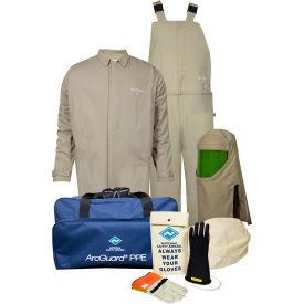 ArcGuard® KIT4SC40ECM08 40 cal Contractor Arc Flash Kit W/Short Coat & Bib Overall, M, Sz 08