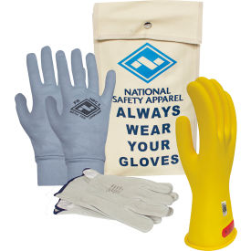 ArcGuard® Class 0 ArcGuard Rubber Voltage Glove Premium Kit, Yellow, Size 8, KITGC008YAG