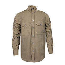 TECGEN CC™ 6 oz. Flame Resistant Work Shirt, L-LN, Tan, SHR-DWWS02-TNLGLN