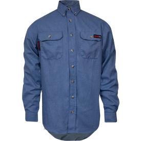 TECGEN Select® Flame Resistant Work Shirt, L, Light Blue, TCG01190219