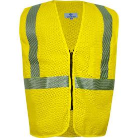 VIZABLE® FR Standard Hi-Vis Mesh Safety Vest, Zipper, ANSI Class 2, Type R, L, Yellow