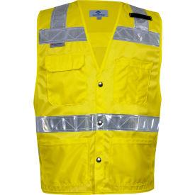 VIZABLE® Hi-Vis Deluxe Road Vest, ANSI Class 2, Type R, XL, Yellow