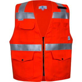 VIZABLE® Flame Resistant Hi-Vis Survey Vest, Non-ANSI, 3XL, Orange