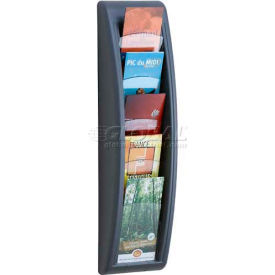 Paperflow 1/3 Letter Size 5-Pocket Quick Fit Systems Literature Display Charcoal