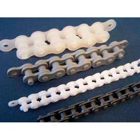 Plastock® #25 Roller Chain 25ppchain, Polypropylene, 1/4 Pitch, Grey