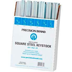 "32 Piece Square Keystock Assortment, Zinc Plated, 12"" Length"