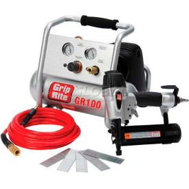 Grip-Rite Brad Nailer & Portable Compressor Combo Kit GRTBK200, 1HP, 1 Gal
