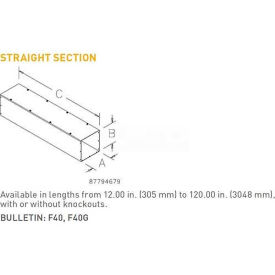 Hoffman F66T1120GVP, Straight Section, Type 1, 6.00x6.00x120.00, Galv/Gray